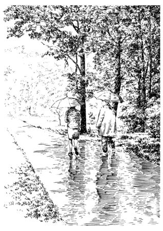 Two people with umbrellas walk along a path in a park under the rain. Summer scene with trees and grass. Black and white hand drawing with pen and ink. Engraving, etching, old sketch style.