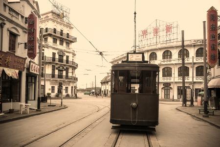 Oude foto's van het straatbeeld van de Republiek China