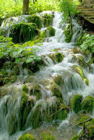 murmur: Fast brook running over green rocks. Stock Photo