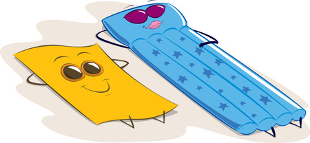 anthropomorphic: comic vector illustration of a towel and a mattress anthropomorphic, tanning on the beach