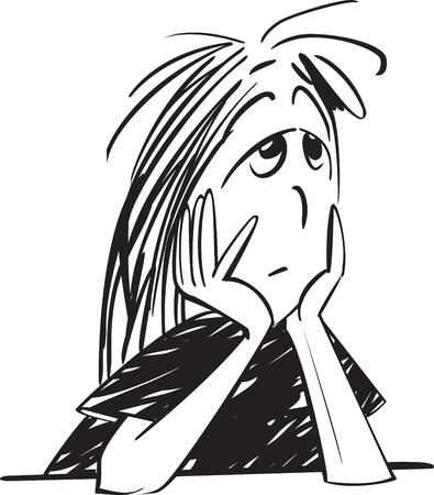 fille triste: Sad girl noir et blanc - la tristesse Illustration