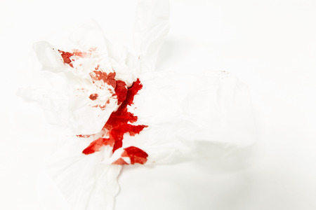 cut and blood: Blood on tissue paper