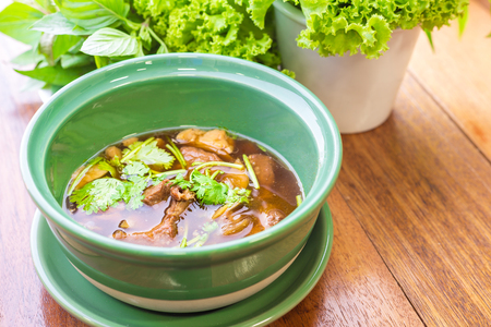 uncouth: Meat soup with vegetables - soft focus Stock Photo