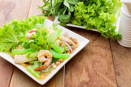 celeriac: glass noodle vegetables salad - soft focus