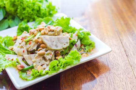 eating meat: The spicy pork salad Vietnam food- soft focus