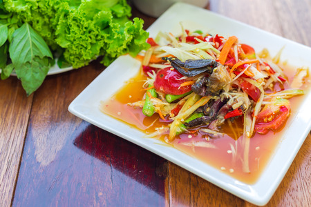 green papaya salad: Green papaya salad Som Tum - Soft focus Stock Photo