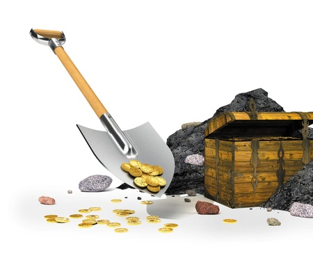 gold shovel: gold coins on a shovel in the background with the treasure chest Stock Photo