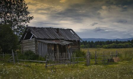 old, abandoned house in the abandoned village Stock Photo