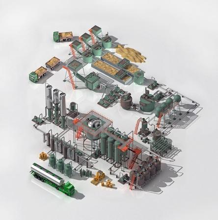 destilacion: El esquema de la l�nea tecnol�gica para la producci�n de alcohol