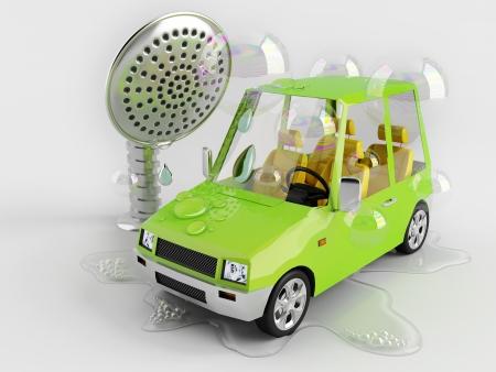 autolavaggio: Automobile divertente su un autolavaggio giocattolo Archivio Fotografico