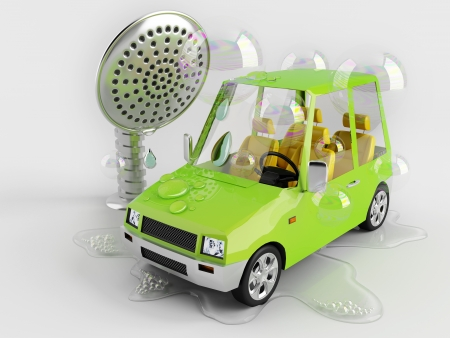 car wash: Funny car on a toy car wash