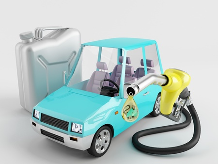 refueling: Small car next to the canister and refueling nozzle Stock Photo