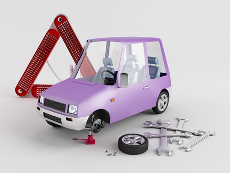 Replacement of flat tire from a toy car Stock Photo - 13500766