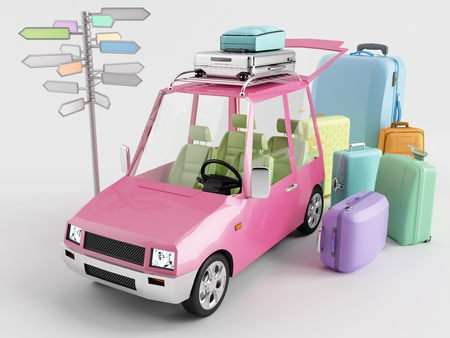 dream car: The car is prepared to travel on holiday