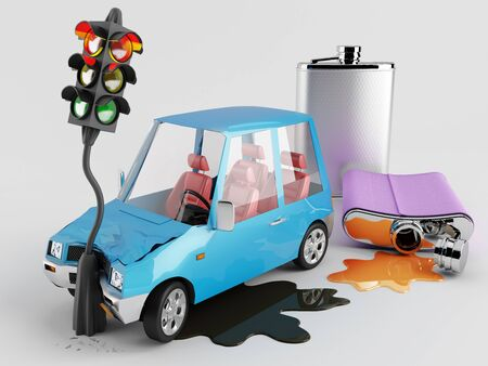 drunk: Car accident caused by alcohol Stock Photo