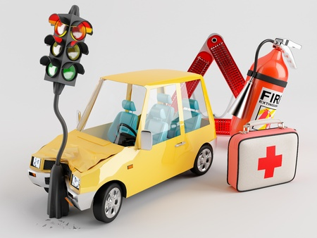 Car emergency kit that can be very useful in the crash occurred photo