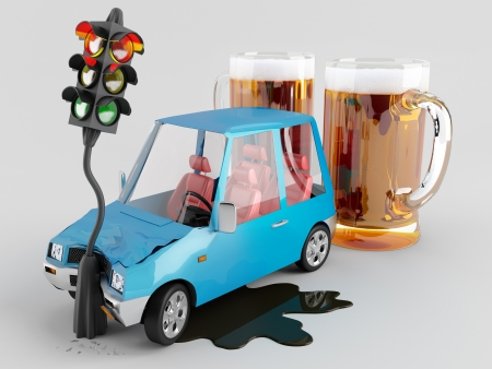 drinking and driving:  Car accident caused by alcohol  Stock Photo