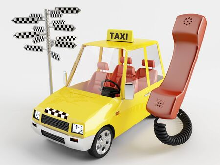 Handset, taxis and direction sign Stock Photo - 13880555