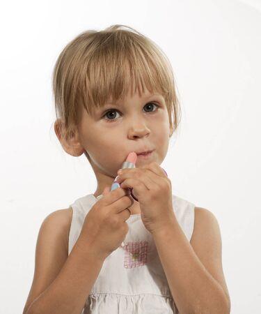 tries: Funny girl tries lipstick baby lipstick