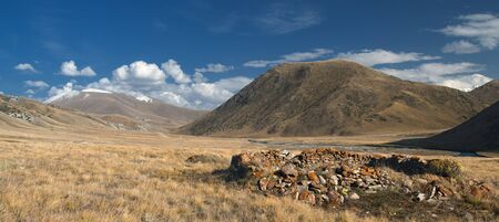 The ruins of ancient buildings in the mountains
