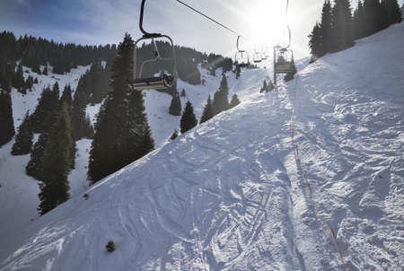 bumpy: Traces of the ski on the ski slopes Stock Photo