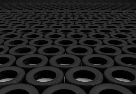 Neat rows of tires stretching into the distance