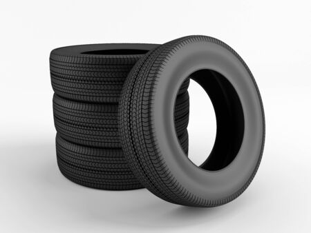 New tires on a white background Stock Photo