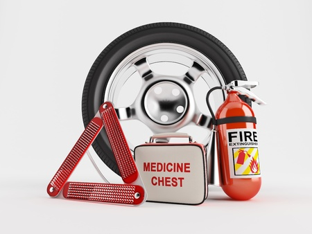 A set consisting of a wheel, fire extinguisher, first aid kit and warning triangle  Stock Photo