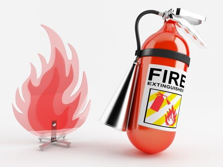 arson: Red fire extinguisher next to the plastic imitation fire