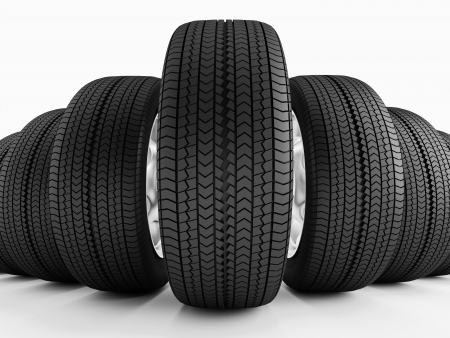 New black tires  Imitation wide-angle lens Stock Photo