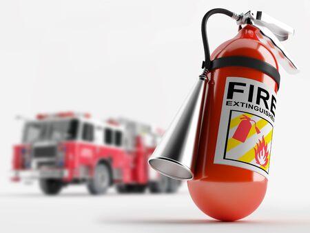 camion pompier: Extincteur sur le fond d'un camion de pompiers Profondeur de champ Banque d'images