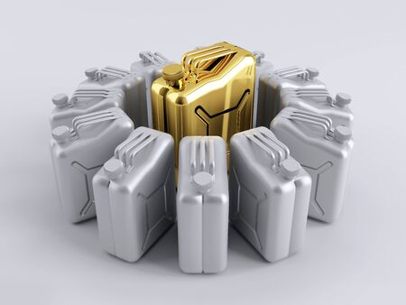 octane: The canister is surrounded by a gold-aluminum Stock Photo