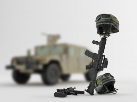 Weapons and helmets on the background of an army vehicle