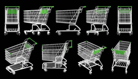 frontal view: shopping carts from different angles on a black backgroun