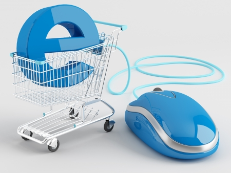 internet sale: shopping carts operated computer mouse - the symbol of e-commerce
