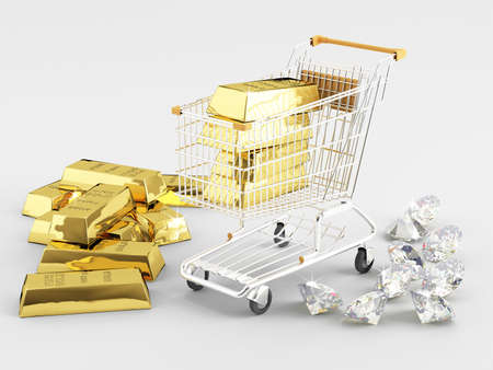 Gold bullion and diamonds next to the shopping cart  photo