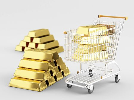 Gold bar in the shopping cart, and next to it Stock Photo