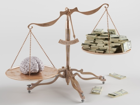 At one end of the scale the brain, on the other money