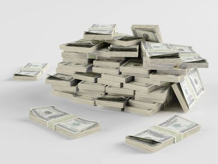 dollar bills: Big pile of money stacks