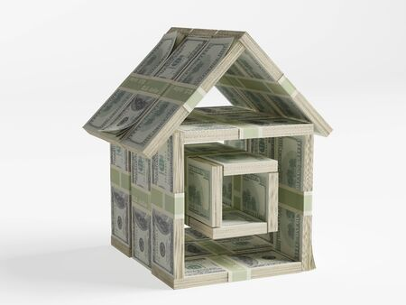 Composed of bundles of money in the form of a small house