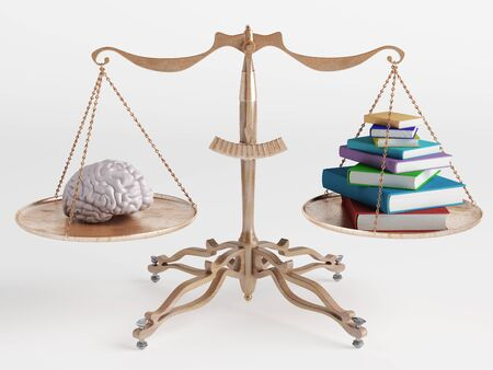 On one side of the scale brain to another book