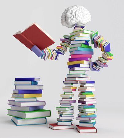 libros: Figura humana que consiste en libros, sosteniendo un libro abierto