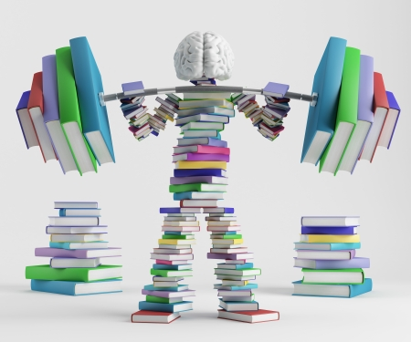 Bookish man lifts a heavy barbell loaded with sports in the form of books Stockfoto
