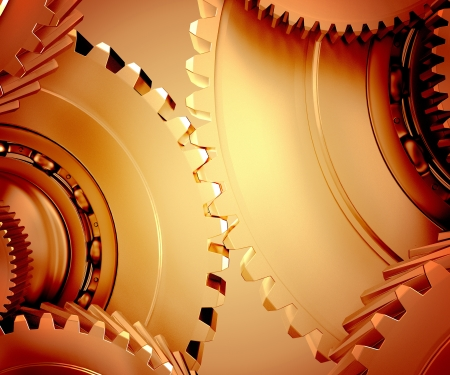 The mechanism consists of gears Stock Photo