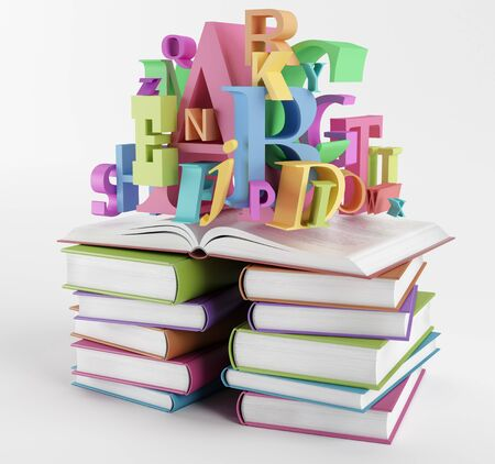 Bright colorful letters over piles of books