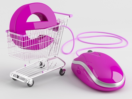 shopping carts operated computer mouse - the symbol of e-commerce  Standard-Bild