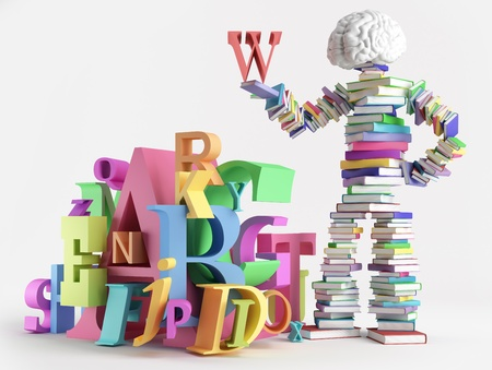 Bookish man standing next to a bunch of letters Stockfoto