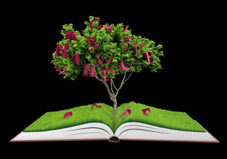 Tree growing from a book. Fruits - letter Stock Photo