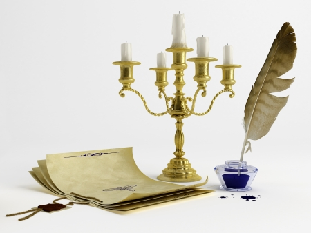 Vintage style paper, candelabrum, pen and ink Stock Photo - 15426805