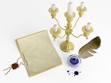 prose: Old instruments writer - inkstand, pen, candelabra and paper Stock Photo
